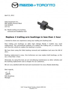 Mazda of Toronto Reference letter